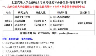 2017年北京交通大学金融硕士报考指南